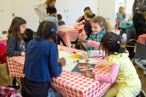 The workshop: cutting the pictures to make our own collages