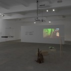 Installation view of Nasrin Tabatabai's and Babak Afrassiabi's exhibition Seep at the Chisenhale Gallery