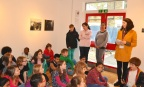 In the gallery: Lisa explaining her works to the pupils